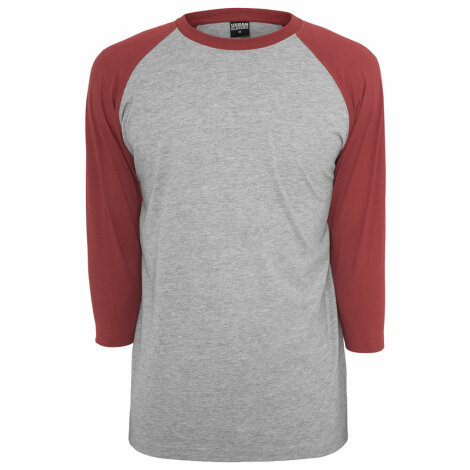 Undershirt Baseball Raglan 3/4 Grey/Ruby